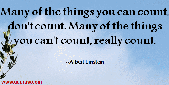 Many of the things you can count, don't count. Many of the things you can't count, really count.