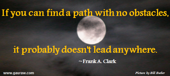 If You Can Find A Path With No Obstacles It Probably Doesn't Lead Anywhere ~Frank A. Clark