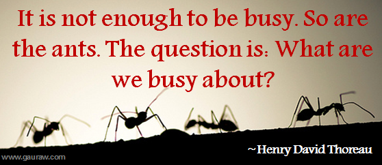 Inspiring Quote-It is not enough to be busy.The question is: What are we busy about