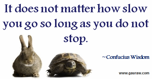 Inspiring Quote-It does not matter how slow you go so long as you do not stop.