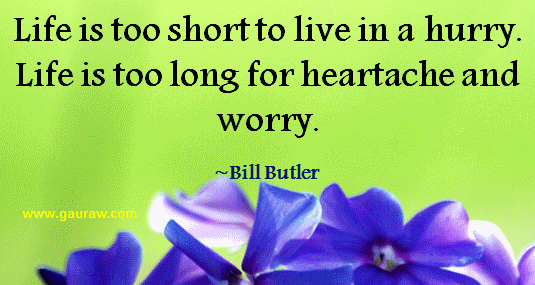 Life is too long to live in a hurry. Life is too long for heatache and worry- Bill Butler