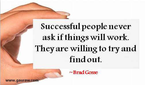 Successful People Never Ask If Things Will Work. They Are Willing To Try And Find Out --Brad Gosse