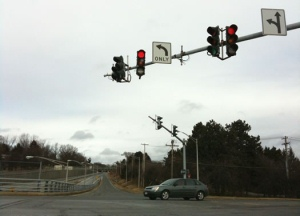 Car Waiting For Green Signal at an intersection