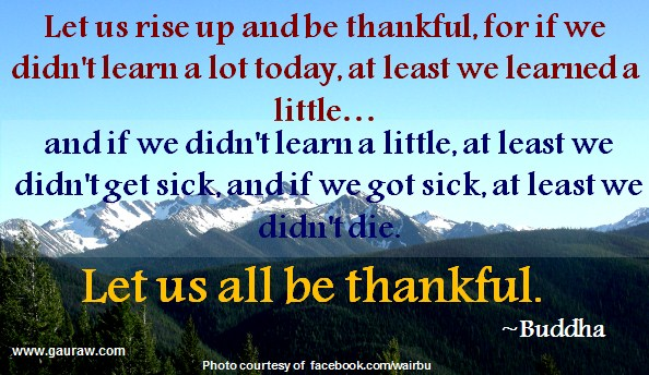 Let us rise up and be thankful, for if we didn't learn a lot today, at least we learned a little, and if we didn't learn a little, at least we didn't get sick, and if we got sick, at least we didn't die; so let us all be thankful. ~Buddha