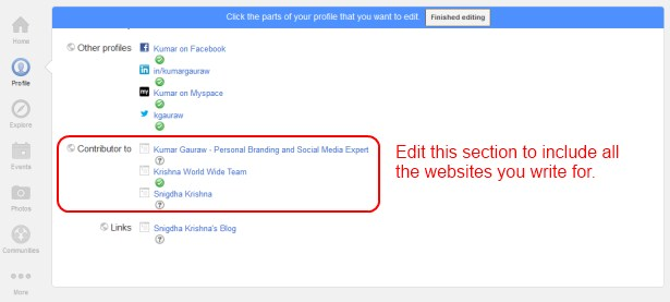 Contributor Section Of Google Plus Profile for Building Brand Identity Kumar Gauraw