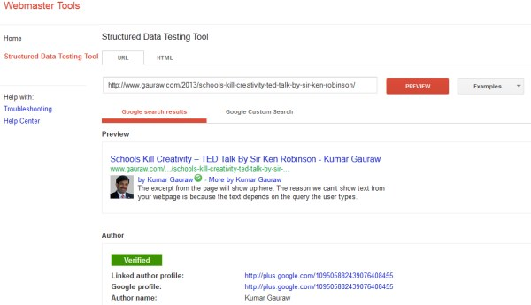 Google Authorship Verification Screen Using Structured Data Testing Tool for Building Brand Identity