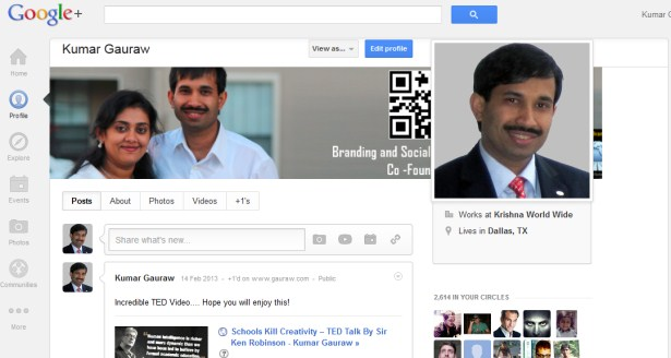 Kumar Gauraw Google Plus Profile Screenshot for Building Brand Identity