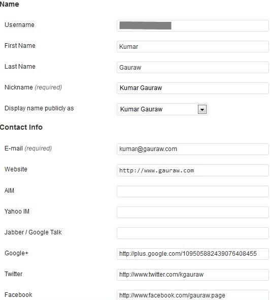 User Profile For Kumar Gauraw In WordPress Admin Area for Building Brand Identity