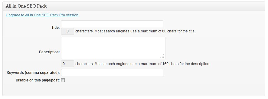 All In One SEO Pack Configuration Setup For New Posts And Pages