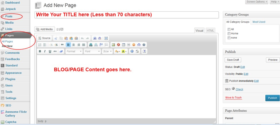 Blog Post Or Static Page Creation Screen In WordPress