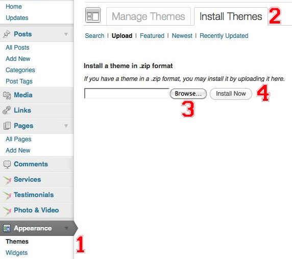 Install Themes Using WordPress Admin Screen