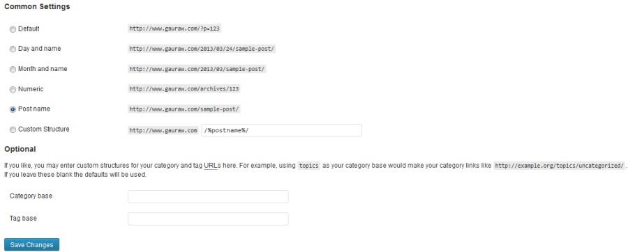 WordPress PermaLink Structure Setting In Admin Pannel