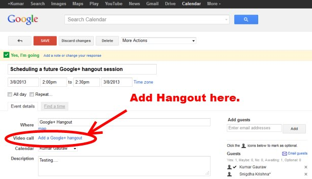 Scheduling Google Hangouts With Google Calendar Invites - Screenshot
