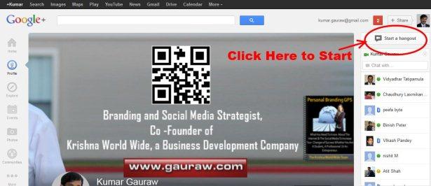 Start Google Hangout From Profile Page - Screenshot