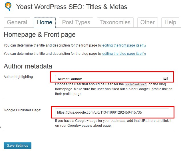 WordPress SEO Home Title and Descriptions Along With Google Authorship Settings