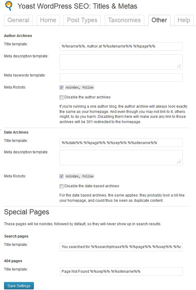 WordPress SEO Other Settings Under Titles And Meta