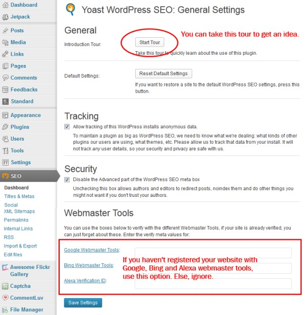 WordPressSEO Dashboard
