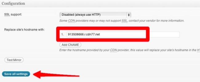 CDN Configuration Settings In W3 Total Cache Plugin