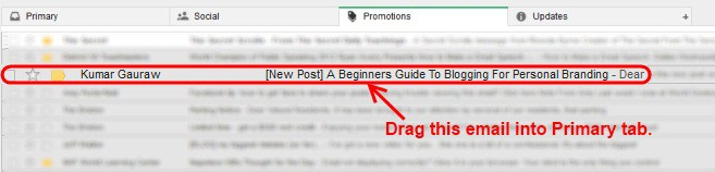 Find Emails from Kumar Gauraw in Promotions Tab and Drag into Primary Tab