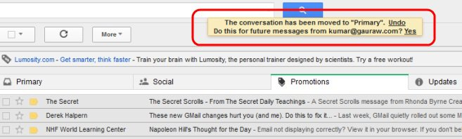 Gmail Warning Message When Message Moved To Primary- Say Yes