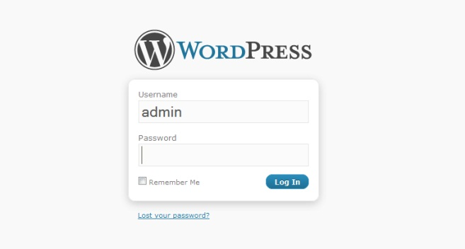 WordPress Admin Login Screen - After Setting Up WordPress Website