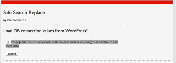 Search and replace wordpress script screen step one