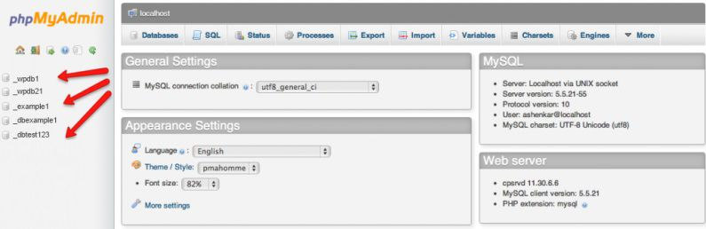 Select Your MySQL Database from phpMyAdmin Window