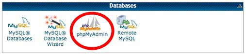 Select phpMyAdmin from cPanel after login