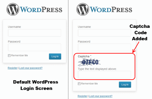 WordPress Login Screen -Default Vs Captcha Code Added