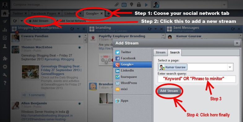 Adding new stream in HootSuite