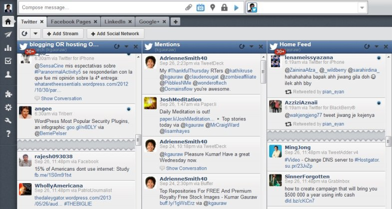HootSuite Dashboard has Tabs And Streams For Each Network