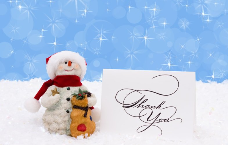 Quotes on Gratitude - Be Thanksful on Thanksgiving - Snowman with Thank you Card