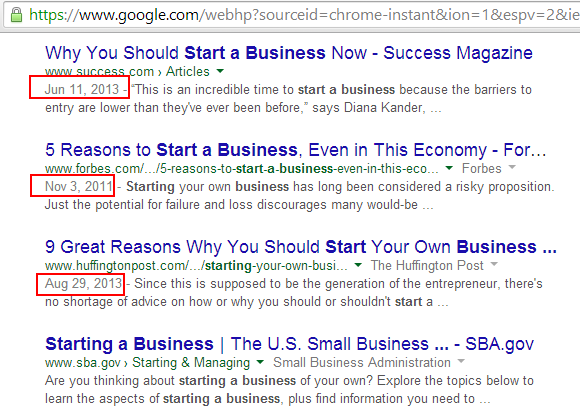 Google Search Result - Why You Should Start A Business