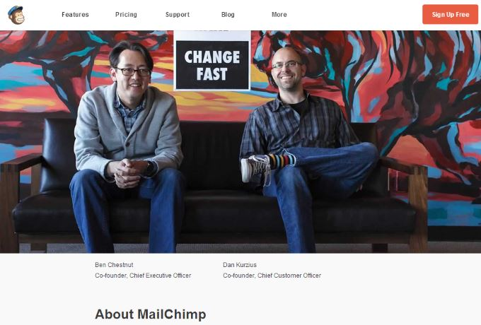 MailChimp About Page Screenshot