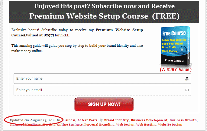 Single Post Footer Blog Updated Date Published After The Email List Signup Form In Meta Section