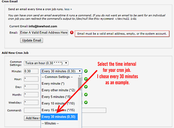 Select Time Interval and enter cron job command to execute using cPanel on web hosting server
