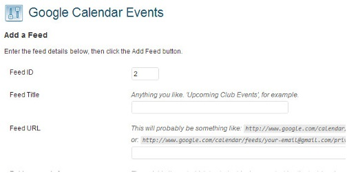 Google Calendar Events Settings
