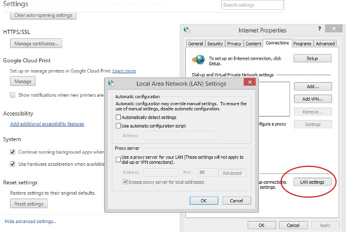 Lan Settings - Proxy Settings - Network Settings - Windows 8