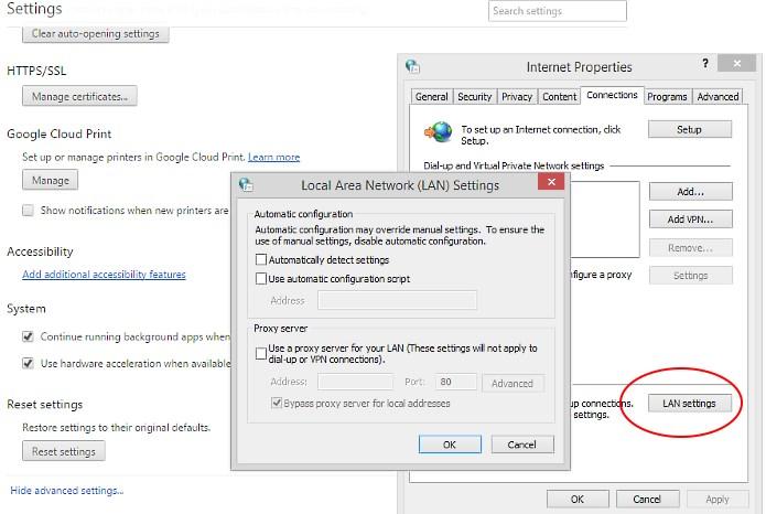 Lan Settings - Proxy Settings - Network Settings - Windows 8