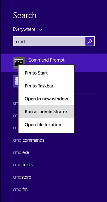 Starting CMD Command Window in Windoes 8.1 as Administrator